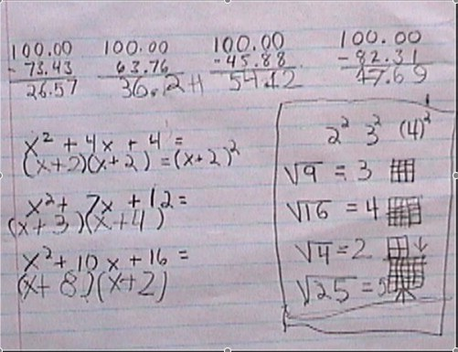 subtraction, factoring, simple square roots