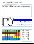 First Grade Math Worksheet, Kindergarten Math Worksheet, base ten block math worksheet